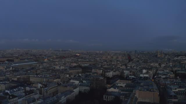 AERIAL:  Paris, France Blue Hour Cityscape Drone view