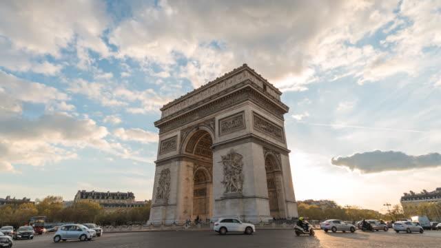 Paris France time lapse 4K, city skyline sunset timelapse at Arc de Triomphe and Champs Elysees