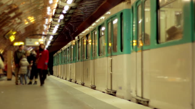 Paris metro - fast motion Sped up footage of two metro trains in a metro station in Paris, France. underground stock videos & royalty-free footage