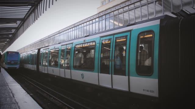 Paris Metro on the Bridge Station, in France.