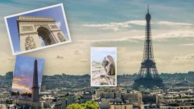 paris scrapbook pictures - gargoyle video stock e b–roll