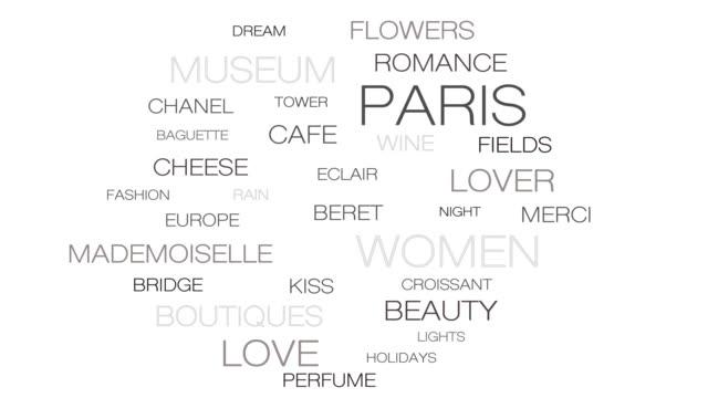 巴黎景點移動動畫,法國灰色情緒迴圈和無縫旅行字雲。英語中的主要法語單詞 - 浪漫和美麗的法國首都的象徵。 - thank you background 個影片檔及 b 捲影像