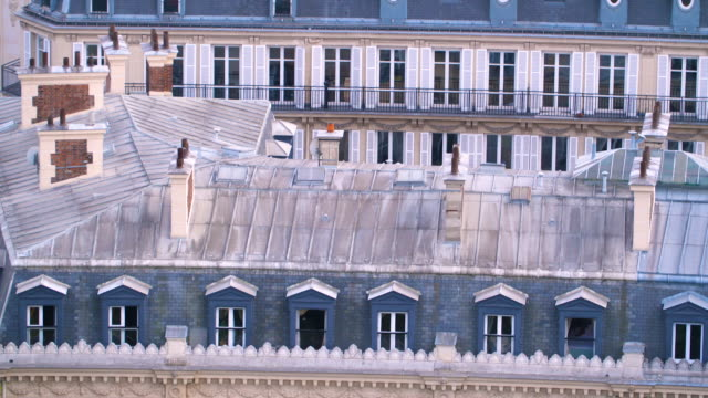 paris skyline aerial view at sunset time - classical architecture stock videos & royalty-free footage