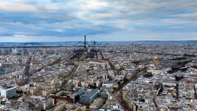 Paris skyline sunset timelapse video