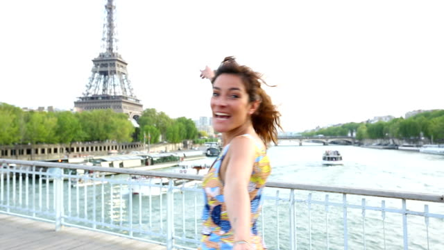 Paris, Woman visiting Paris video