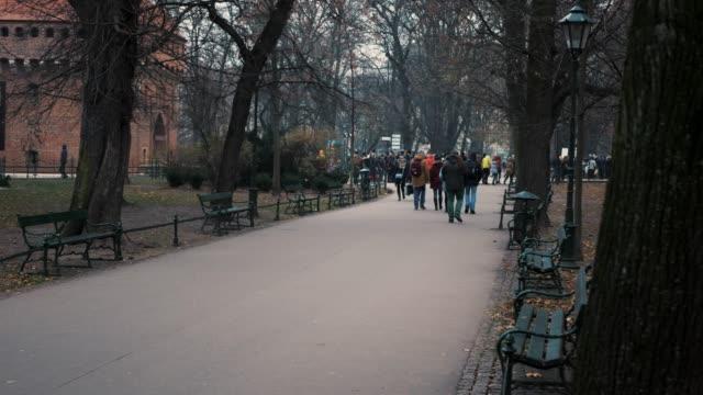park rund um das zentrum von krakau - krakau stock-videos und b-roll-filmmaterial
