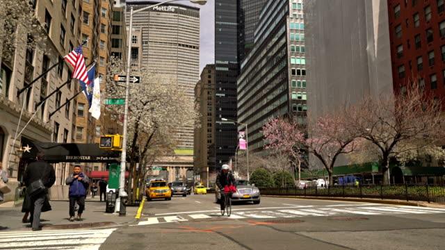 park avenue. new york. spring - проспект стоковые видео и кадры b-roll