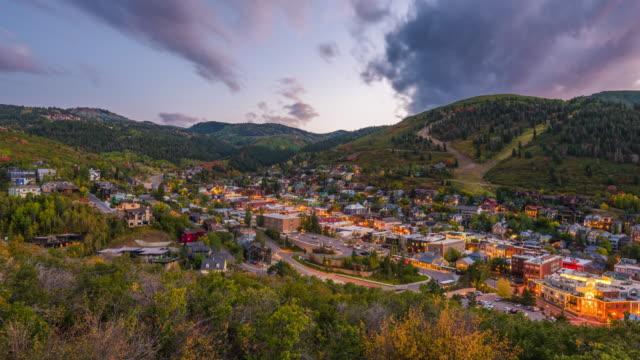 Park City, Utah, USA Park City, Utah, USA downtown townscape in the autumn season. utah stock videos & royalty-free footage