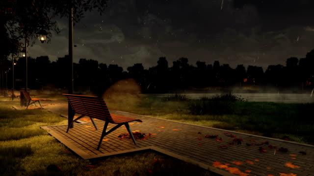 park walkway with empty benches at dark rainy autumn night - cisza filmów i materiałów b-roll