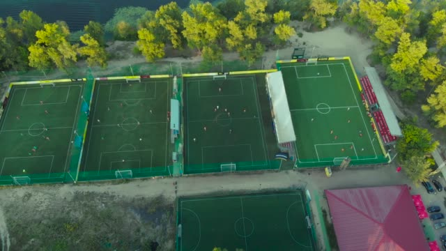 Park with many football fields near the river video