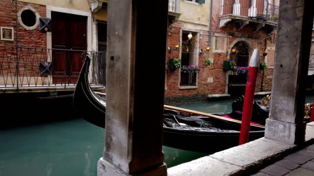 Parked gondolas in Venice video