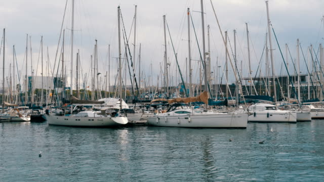Parked Ships, Boats, Yachts in Rambla del Mar Port of Barcelona, Spain video