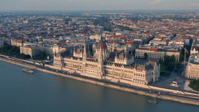 Parliament of Hungary in Budapest Aerial view of Parliament of Hungary in Budapest hungary stock videos & royalty-free footage