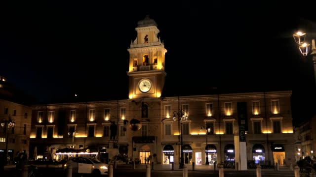 Parma, Italy, front of the town hall illuminated at night video