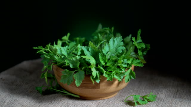 Parsley Turning Loopable Organic fruits, vegetables and agricultural products for all seasons and for healthy life parsley stock videos & royalty-free footage