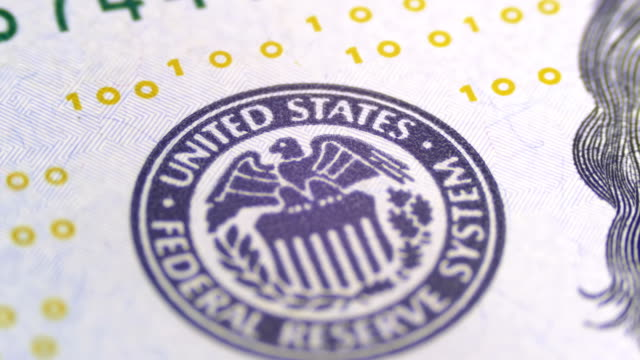 Part of the 100 US Bills, view on Printing Type of the United States, the Federal Reserve System