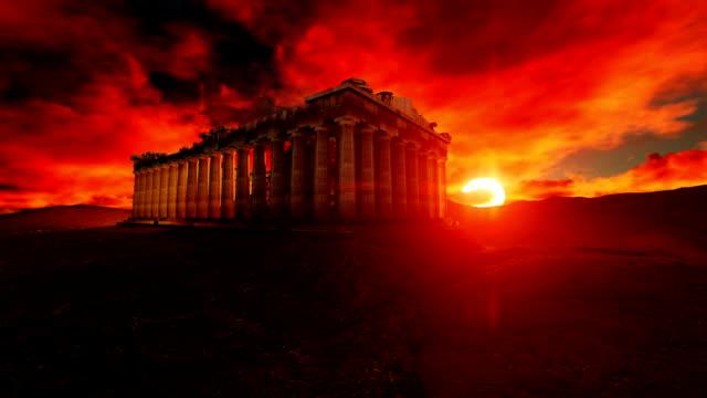 Parthenon Greece On Beautiful Sunset video