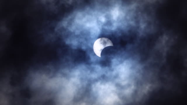 Partial Solar Eclipse in blue dark color with moving cloud 4K Partial Solar Eclipse in blue dark color with moving cloud part of stock videos & royalty-free footage