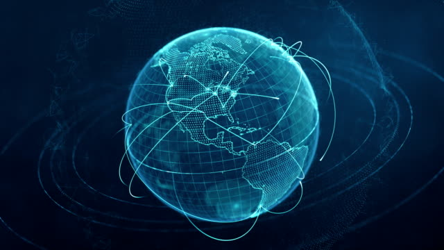 particle world with a growing global network - blue loop - world map stock videos & royalty-free footage