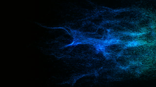 particles dispersing and twisting. high quality clip rendered on high end computer and graphics card - логотип стоковые видео и кадры b-roll