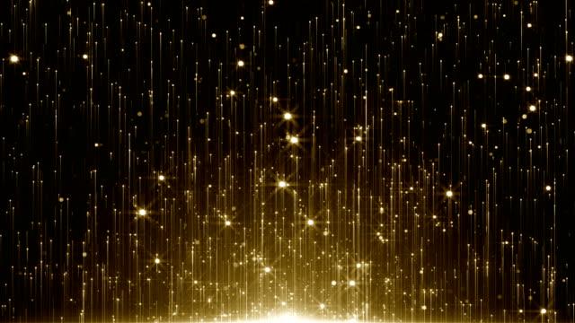 vídeos de stock, filmes e b-roll de partículas de ouro glitter bokeh prêmio poeira loop fundo abstrato - padrão repetido