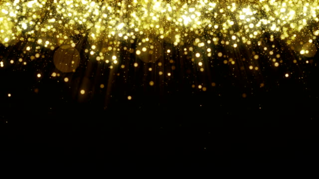 Particles gold glitter bokeh award dust abstract background loop video