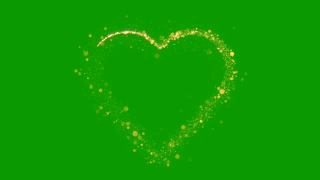 Particles Heart Sparkle. Gold Glitter Particles Background. Green Screen. Loop