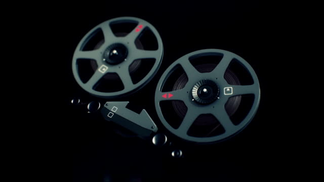 Parts of old tape recorder 3d render animation video