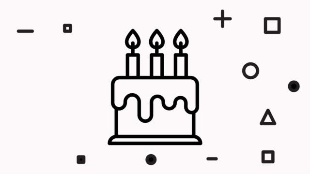 パーティーケーキアイコンアニメーション映像&アルファチャンネル - アイコン プレゼント点の映像素材/bロール