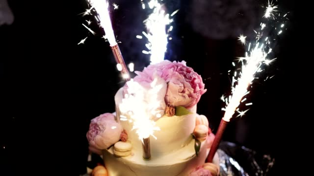 Party cake with fireworks video