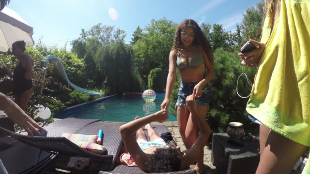 Party Outdoor Summer Young Adults Multi Ethnic Group Party Outdoor Summer Young Adults Multi Ethnic Group pool party stock videos & royalty-free footage