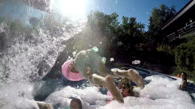 Party Outdoor Summer Young Adults Pool Foam Bubble Party Outdoor Summer Young Adults Pool Foam Bubble pool party stock videos & royalty-free footage