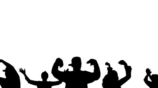 vidéos et rushes de groupe des silhouettes de personnes - hip hop