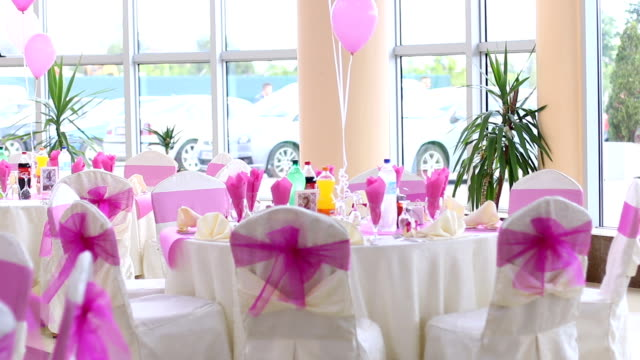 party table - christening stock videos and b-roll footage