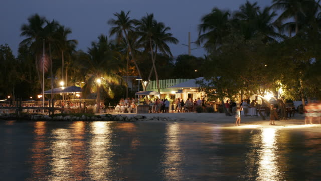 Party Time Lapse a time lapse of people at a restaurant on beach beach party stock videos & royalty-free footage
