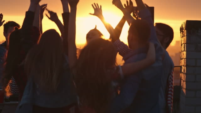 Partying on Rooftop at Sunset video