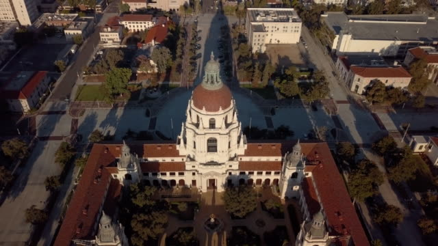 Pasadena City Hall- Moving Drone Shot Revealing Pasadena