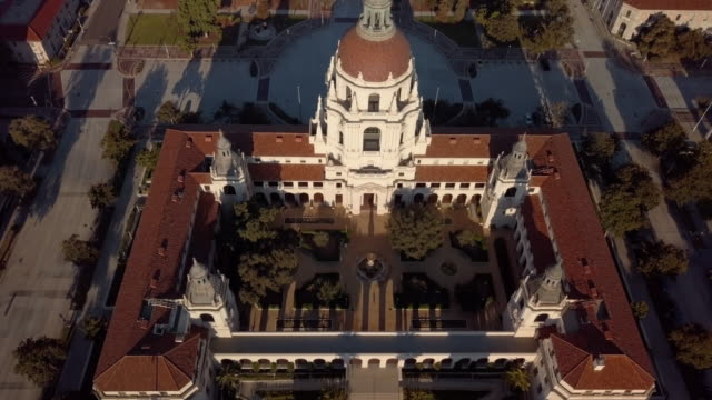 Pasadena City Hall- Over the Top Moving Drone Shot