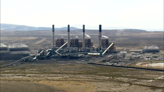 Pass A Coal Fired Power Station  - Aerial View - Wyoming, Sweetwater County, United States video