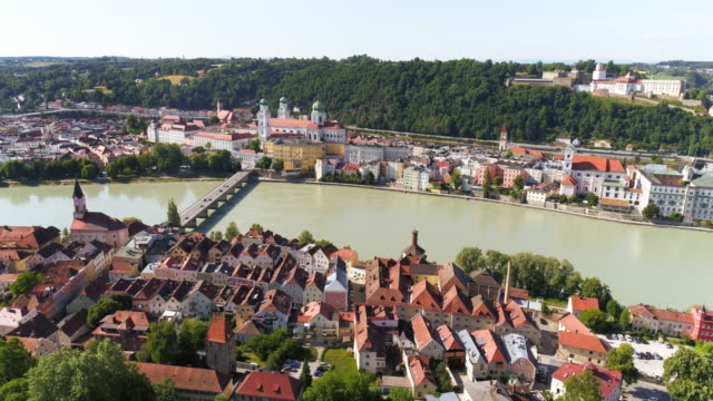 Passau And Inn River From The South Drone point of view shot made in 4K/Ultra High Definition hungary stock videos & royalty-free footage