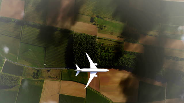 passenger airplane flying above clouds top view - aerial map stock videos & royalty-free footage