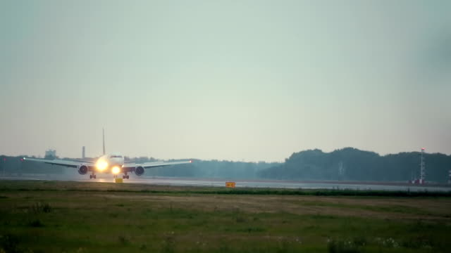 Passenger airplane landing video