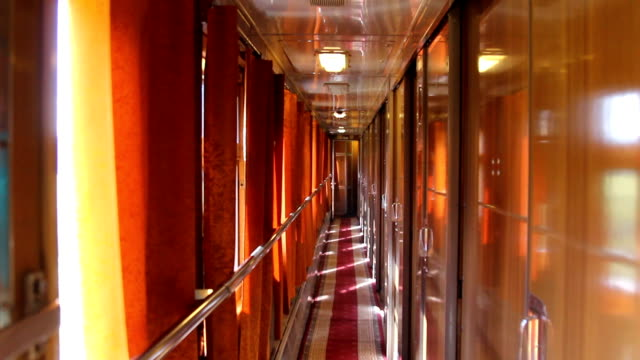 Passenger Comfortable Train Compartment during the Trip, Night Sleep Wagon. video