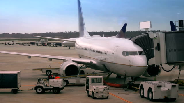 Passenger plane at the gate video