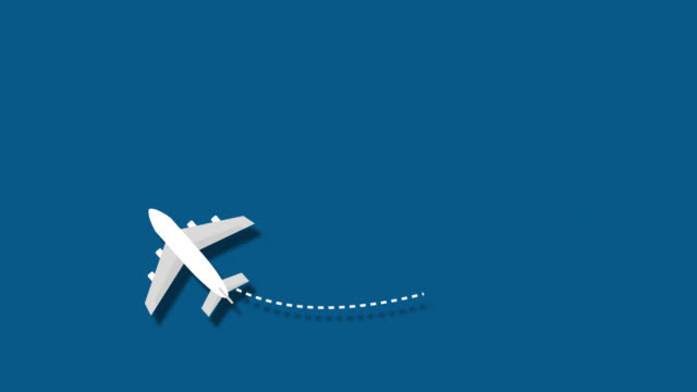 Passenger plane flying through the frame
