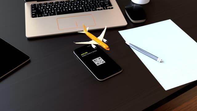 aereo passeggeri decollato dallo smartphone - fare una prenotazione video stock e b–roll