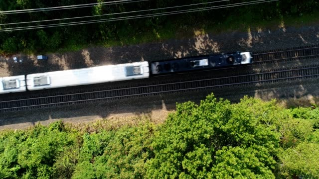 passenger train aerial - intercity filmów i materiałów b-roll