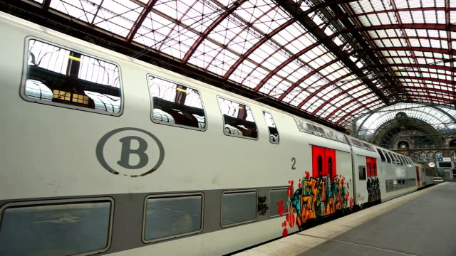 Passenger Train Departing from Antwerp Central Station video