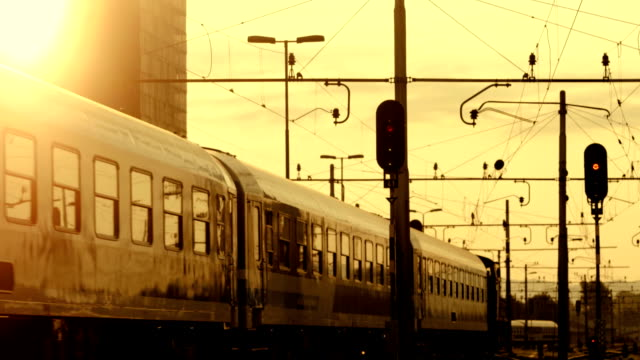 HD: Passenger Train Leaving A Station video