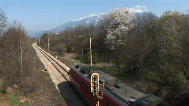 HD: Passenger train HD1080i: Passenger train passing by below. Tripod. intercity stock videos & royalty-free footage